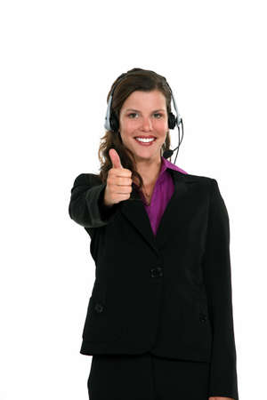 Receptionist giving the thumb's up Stock Photo - 15573318