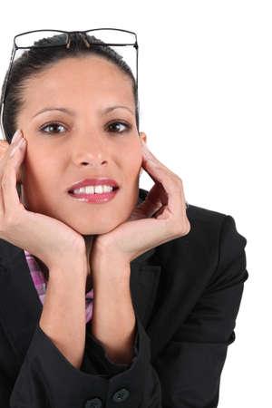 advised: portrait of  brunet businesswoman Stock Photo