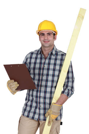 Site inspector with clip board Stock Photo - 15626373