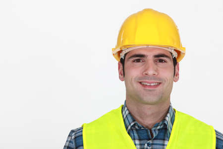 high visibility: Portrait of a construction worker Stock Photo