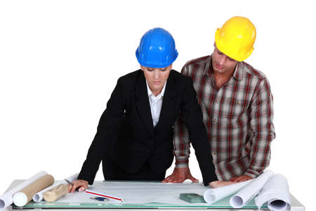 a female architect and her assistant Stock Photo - 15624313