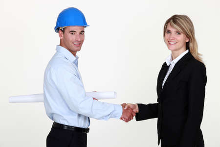 Architects shaking hands Stock Photo - 15624945