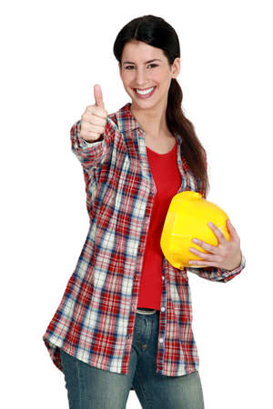 craftswoman: craftswoman thumbs up Stock Photo