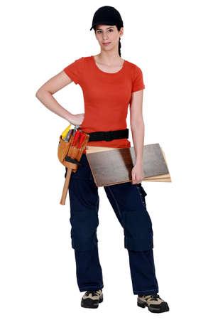 Female carpenter posing Stock Photo - 15611046
