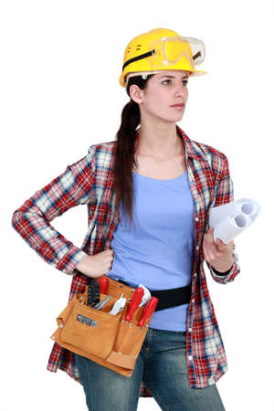 self contained: Woman with tools