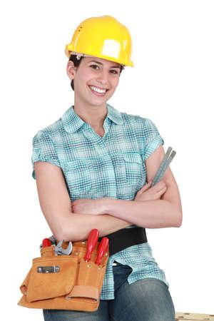 fluency: Female builder Stock Photo
