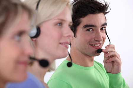 callcenter: Three young call-center workers