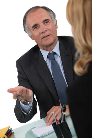 successfulness: Two businesspeople having discussion Stock Photo