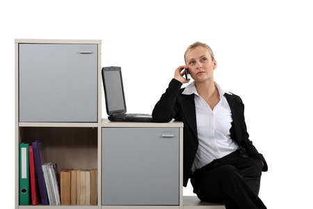 businesswoman working at home on the phone near laptop Stock Photo - 15624325