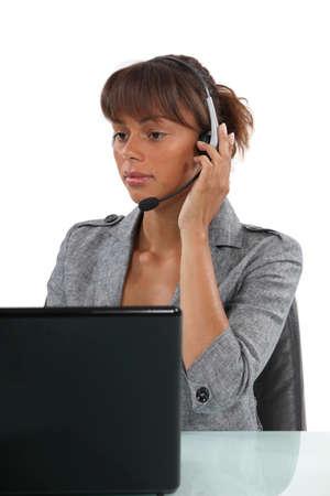 direct marketing: Receptionist wearing head-set