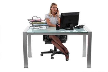 telephonist: Blond receptionist Stock Photo
