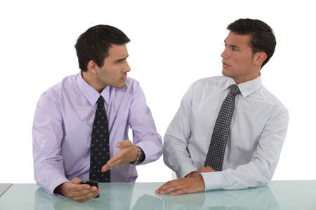 Two businessmen having argument photo