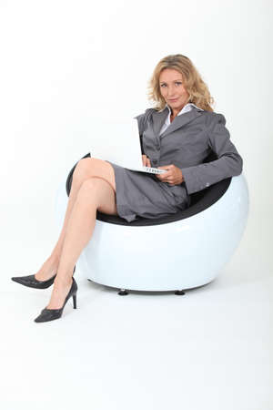 woman in design chair photo