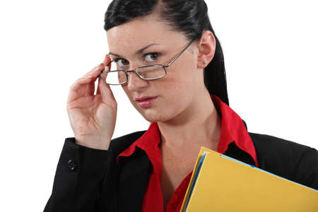 deduce: Clerical worker peering over her glasses