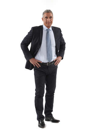 man full body: Full length mature businessman