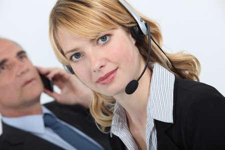 fair skinned: Secretary wearing a headset