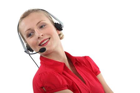 Femme portant un casque Banque d'images