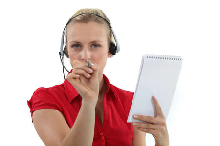 overpowering: Administrative worker pointing her pen