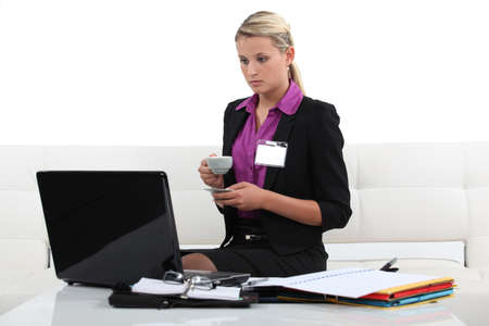 industrious: Woman preparing a talk for a business conference