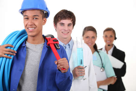 apprentice: Four different career choices Stock Photo