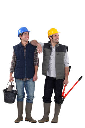 A team of distracted tradesmen Stock Photo - 15686383