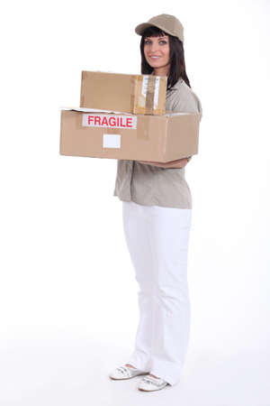 Woman delivering packages photo