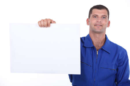 reimbursement: man showing a piece of paper Stock Photo