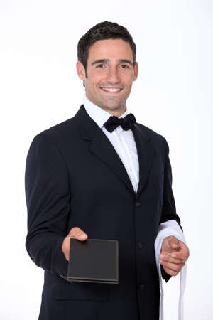 Waiter with a menu photo
