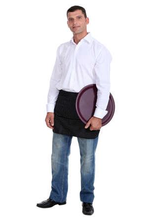 dinner wear: Casual waiter on white background Stock Photo