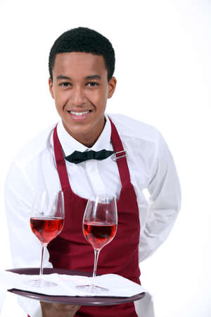 serving: Wine waiter Stock Photo