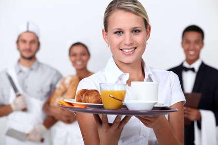 Een restaurant personeel