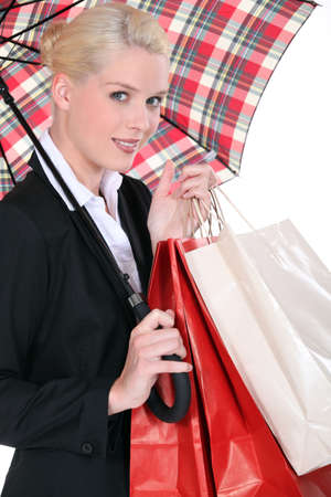 portrait of a young woman with umbrella photo
