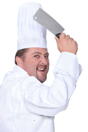 melodramatic: Chef in whites wielding a chopper