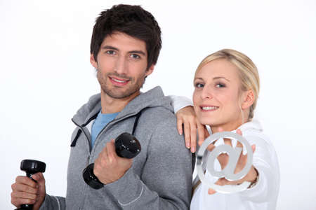 timeless: Couple with weights and email symbol
