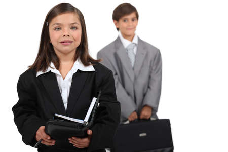 hair tie: Children dressed in suits Stock Photo
