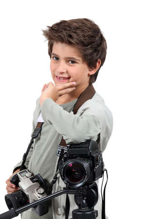Little boy dressed as cameraman photo