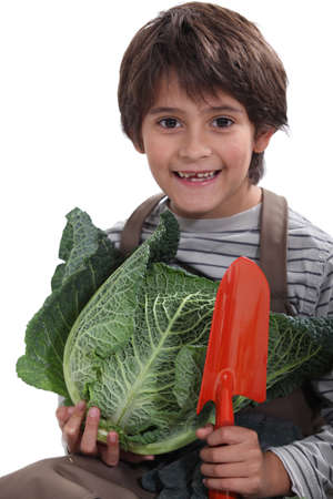 cheeky lad carrying, vegetables, photo