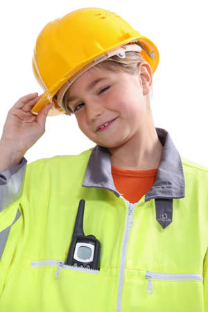 disguised: small girl disguised as a site foreman