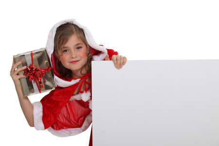 santa girl: Little girl dressed with Christmas clothing