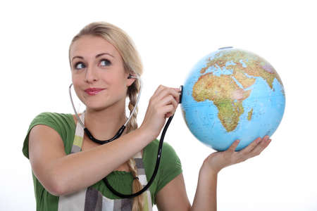 female, holding, globe Stock Photo - 15686387