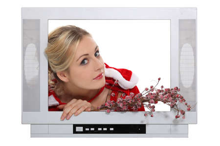 christmassy: Christmassy woman inside a television