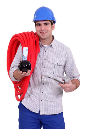 flexi: Plumber with a piggy bank