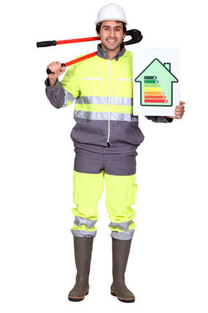 kwh: Laborer holding energy rating sign