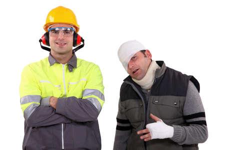 luxacion: La seguridad en el lugar de trabajo Foto de archivo