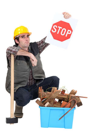Builder urging you to recycle Stock Photo - 15672850
