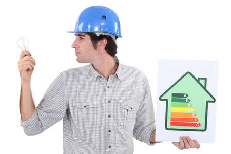 Electrician promoting energy savings  photo