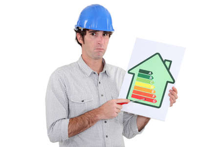 3 point perspective: Man pointing to energy efficiency panel