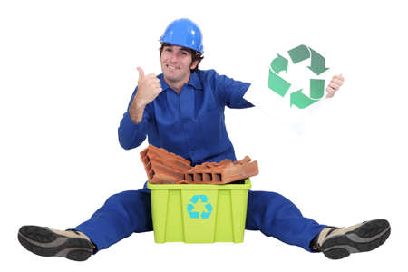 Tradesman promoting recycling Stock Photo - 15668539