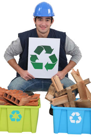 Tradesman promoting recycling photo
