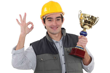 self contained: Worker with sports drink